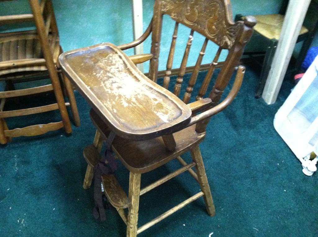 beat-up high chair